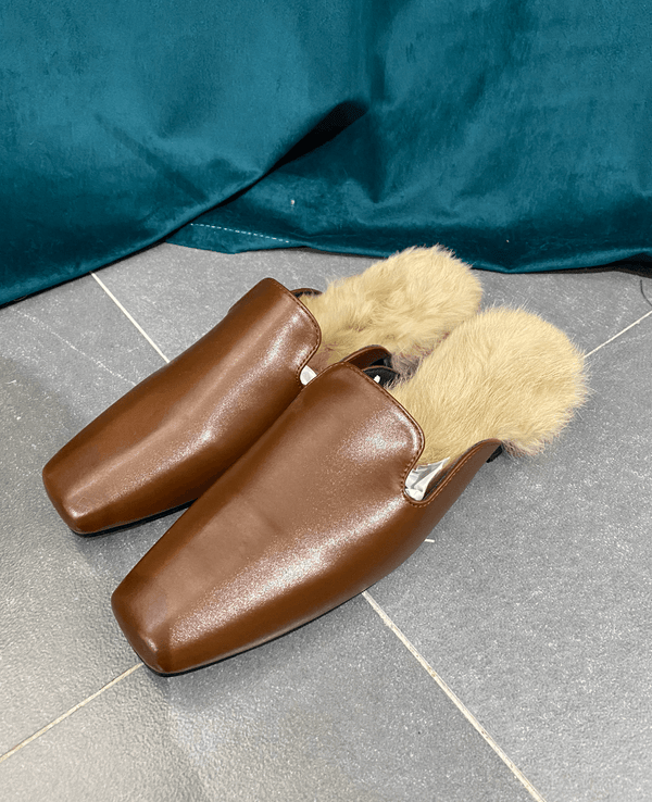 (50% OFF) Fur Slippers In Brown