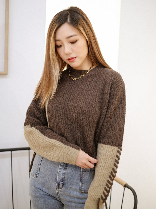 Teddy Tie Up Knit Top In Choco (In Stock)