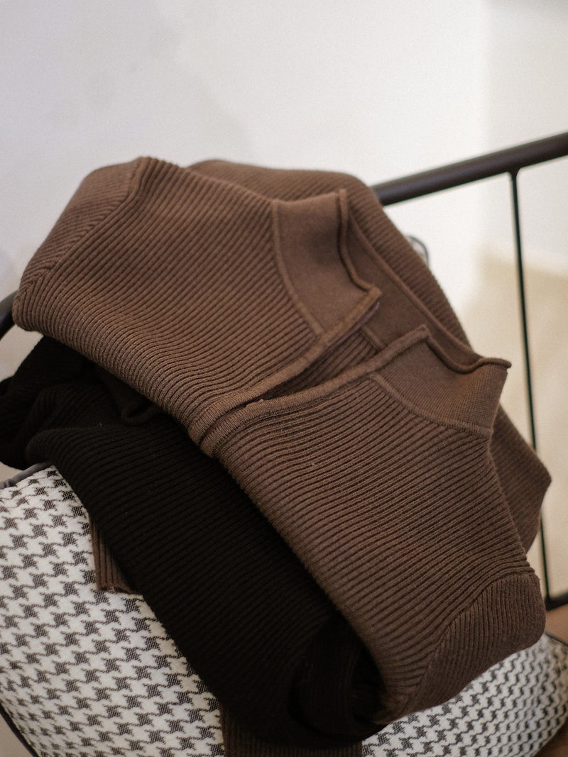 Cutaway Collar Zip Front Top In Brown (In Stock)