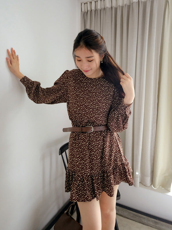 Vintage Ruffle Mini Dress With Belt In Brown