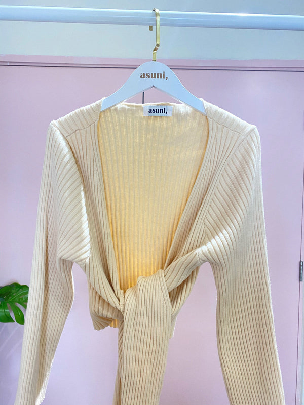 Self-wrap Ribbed Long Sleeve In Beige