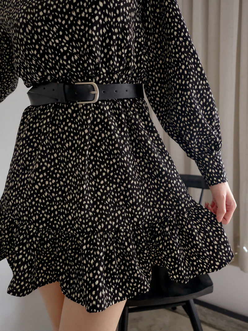Vintage Ruffle Mini Dress With Belt In Black