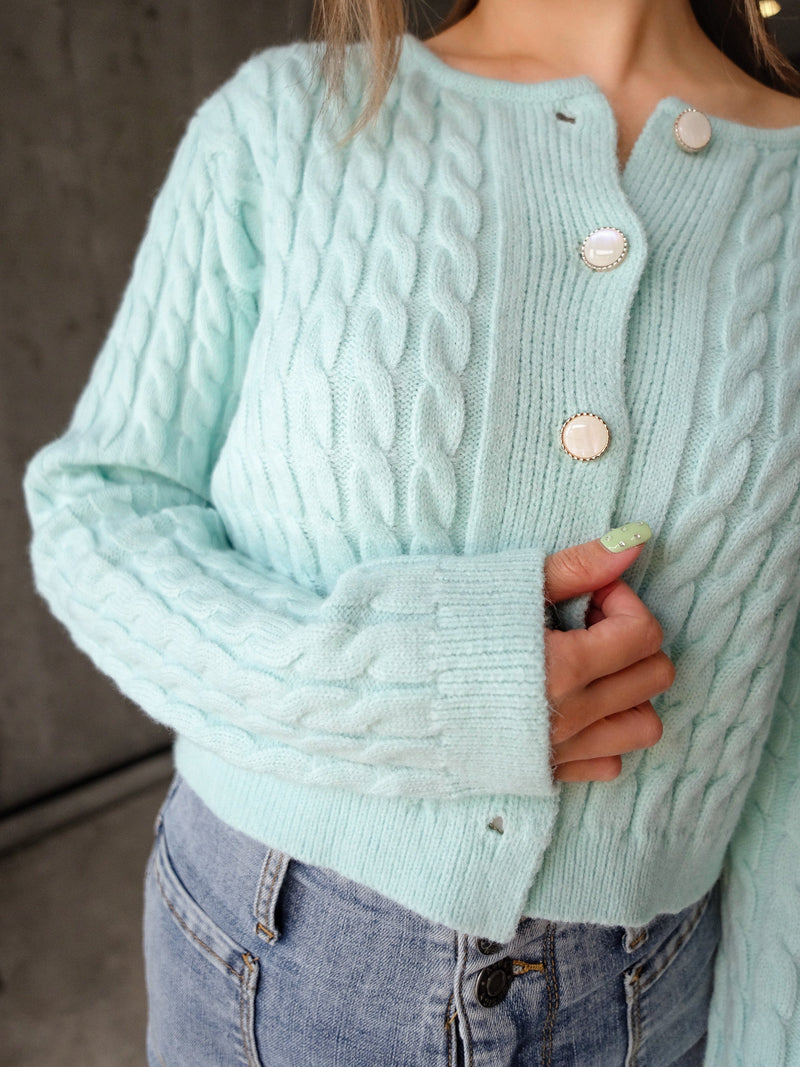 Tiffany Blue Cable Knit Cardigan With Pearl Buttons