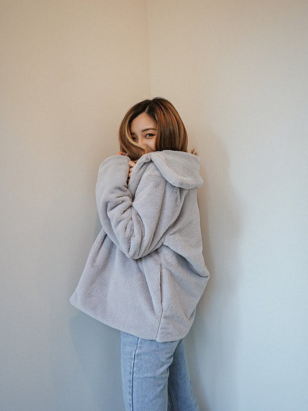 Teddy Coat In Grey (Pre-order)