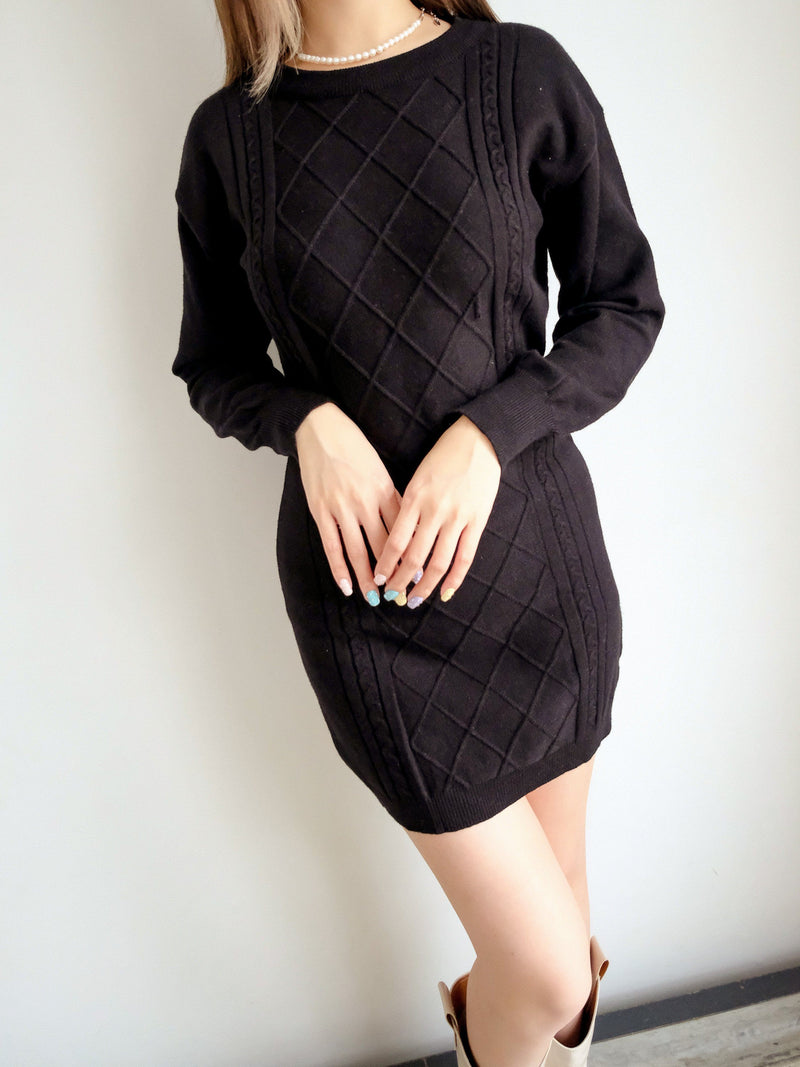 Slim Fit Knitted Mini Dress With Open Back Details In Black