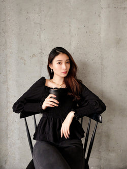 Puffy Sleeve With Ruffle Trim Top In Black