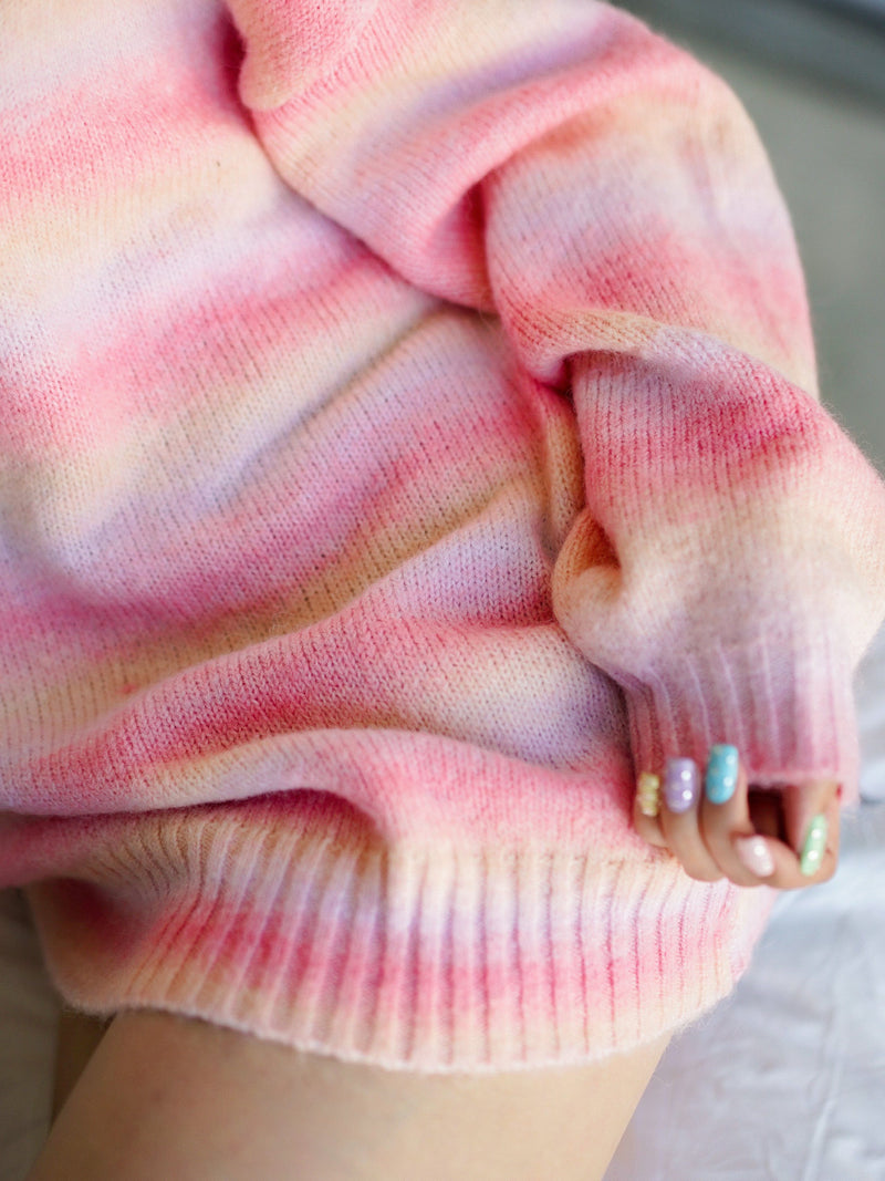 Rainbow Gradient Oversize Knit Top In Pink