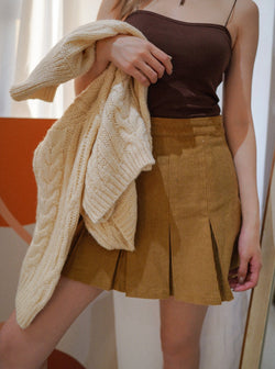 Pleated Skirt In Mustard