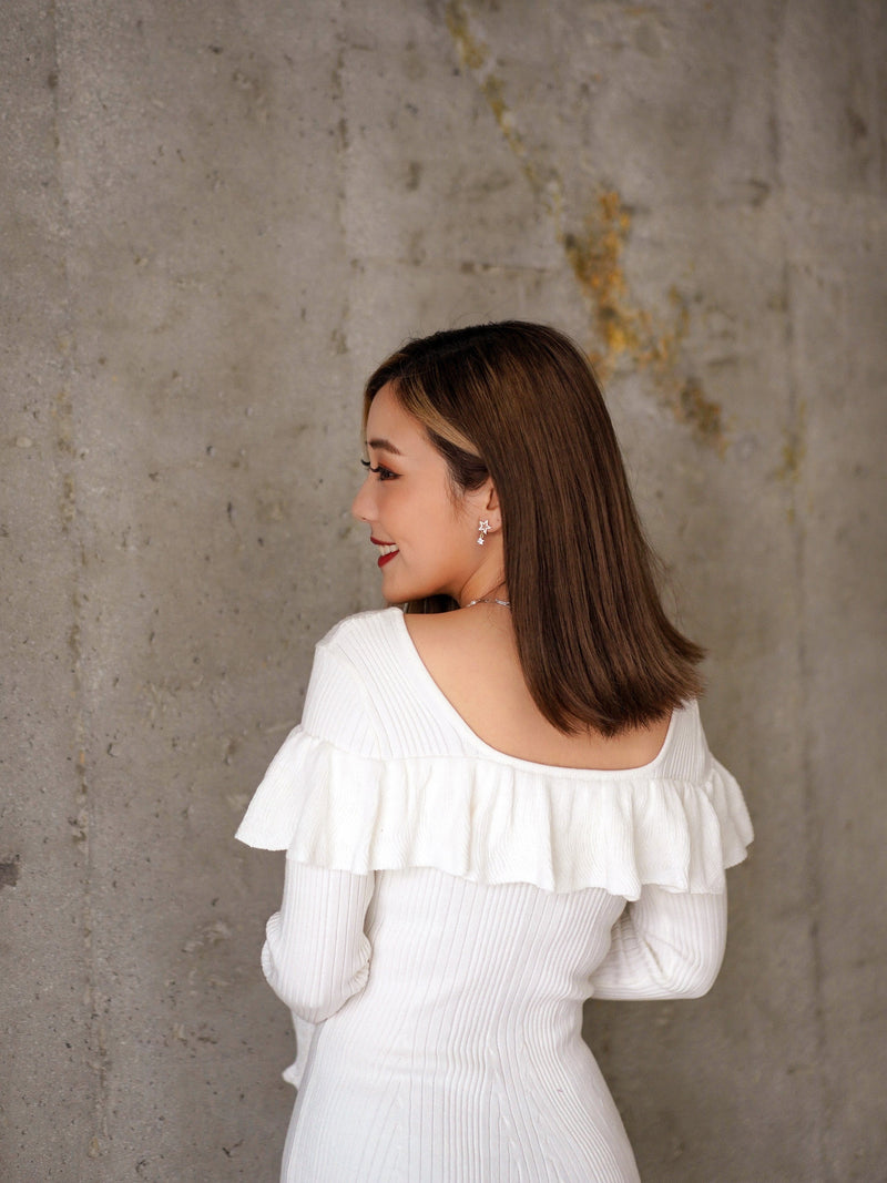 Marshmallow White With Ruffle Trim Mini Dress