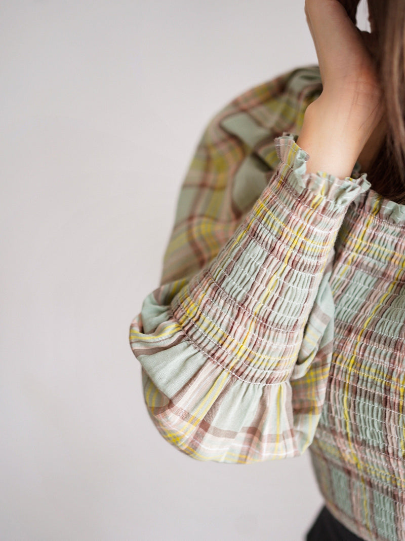 Check Print Puffy Sleeve Top In Green