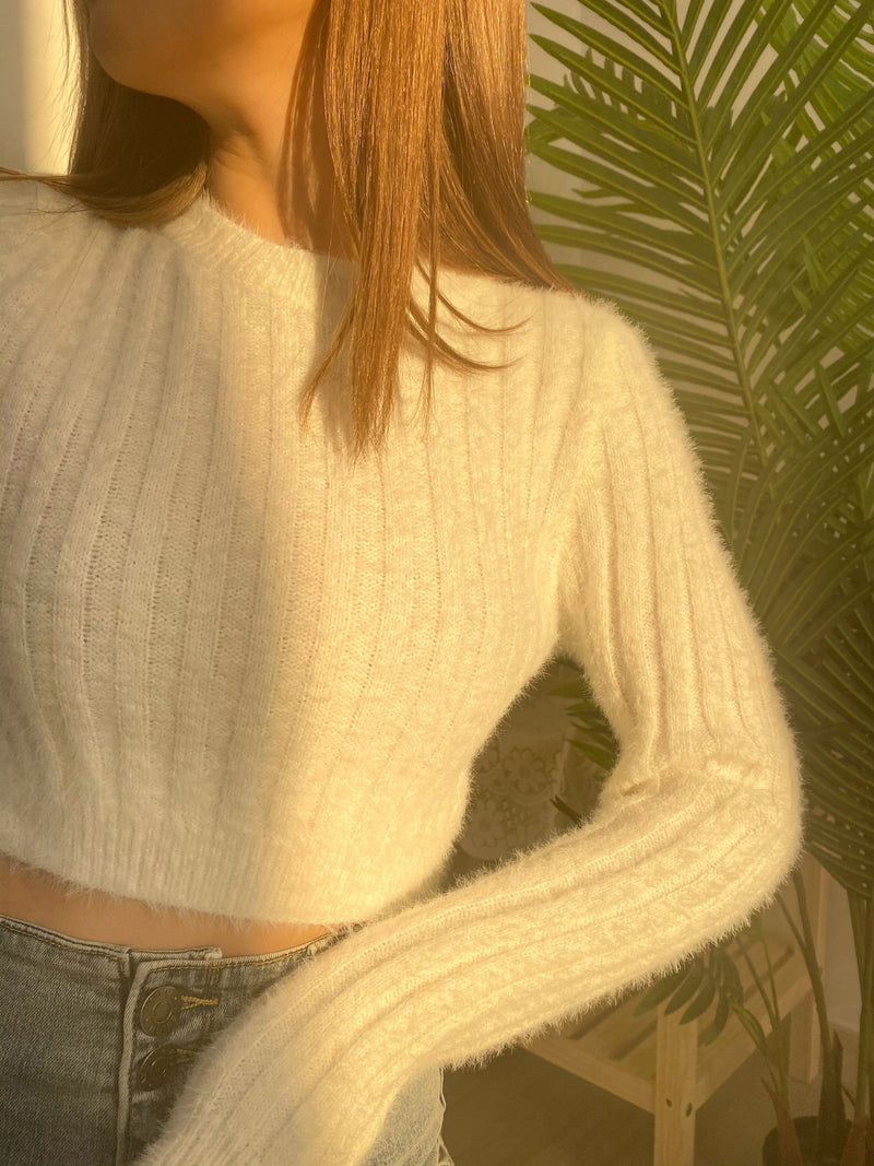 Cropped Fur Top In White