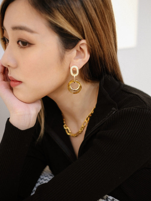 White Amber x Gold Earrings (In Stock)