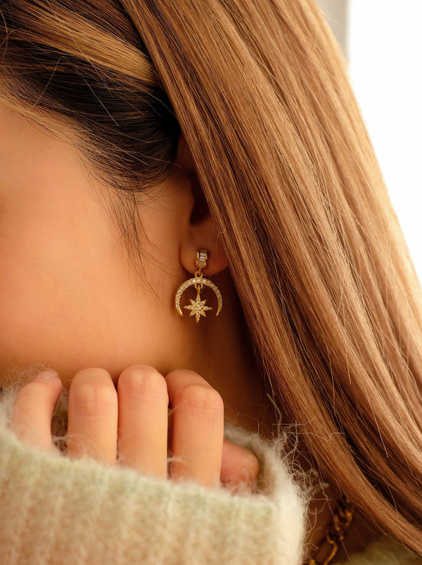 Crescent Moon x Star Earrings (In Stock)