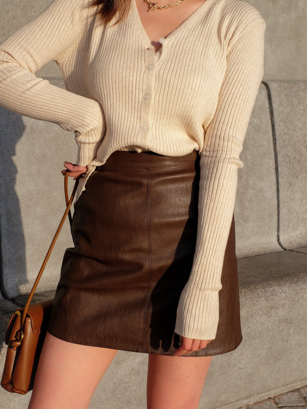 Faux Leather Mini Skirt In Brown