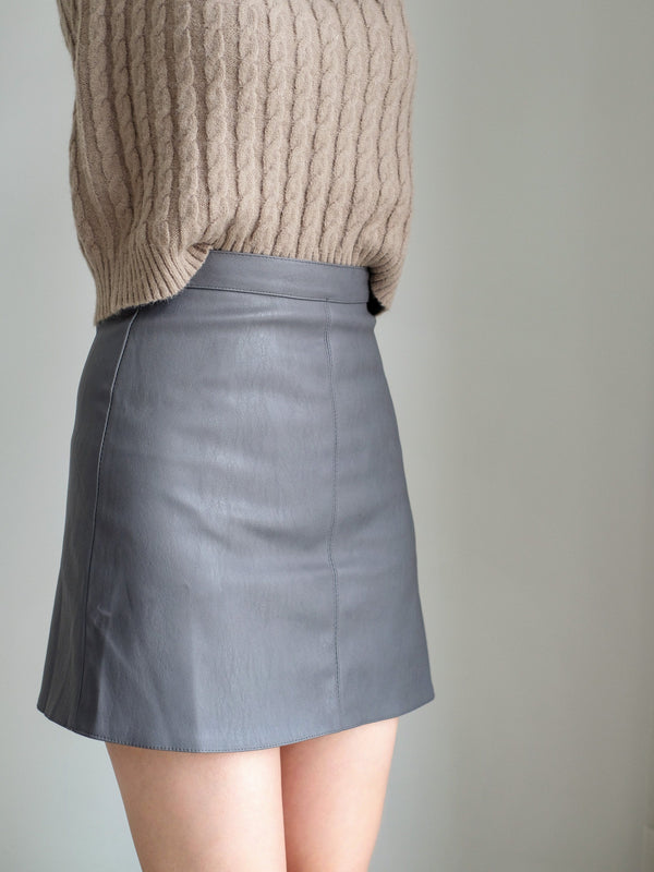 Faux Leather Mini Skirt In Light Grey