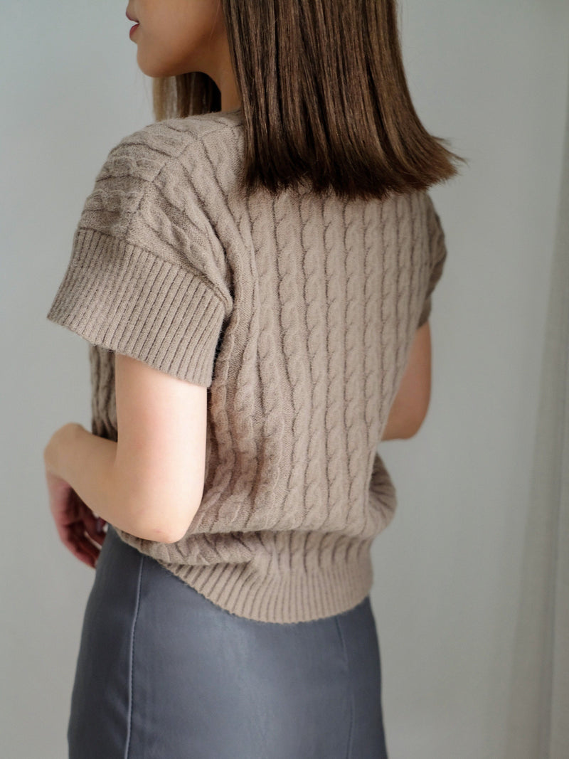 Cable Knit Short Sleeve Top In Brown