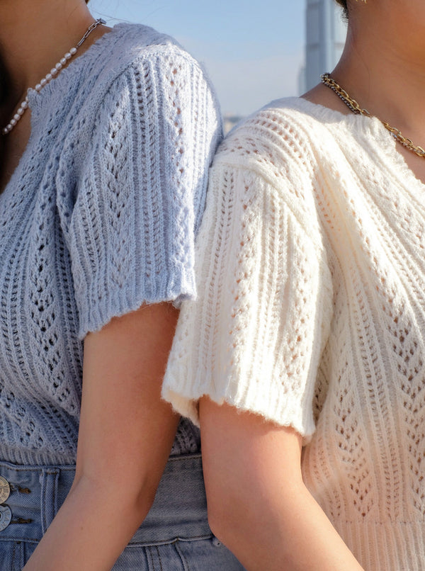 (40% off) BFF Cozy Cropped Knit Top in Cream & Baby Blue