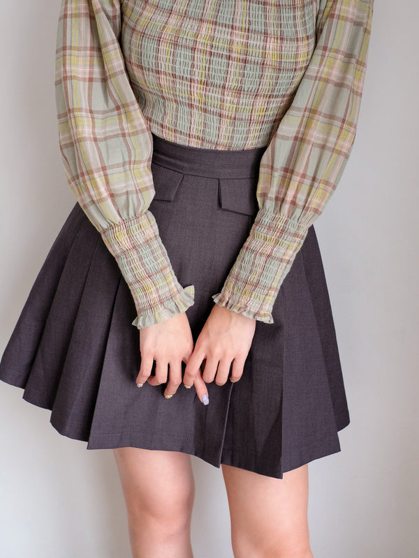 Pleated Mini Skirt In Dark Grey