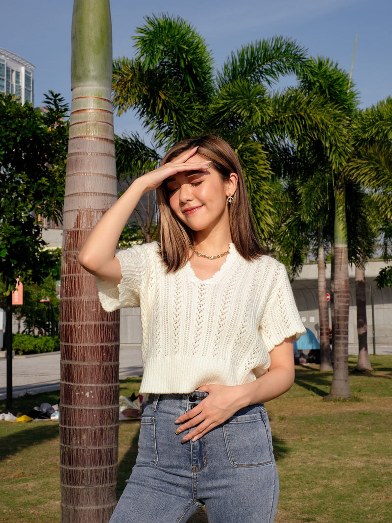 BFF Cozy Cropped Knit Top in Cream & Baby Blue
