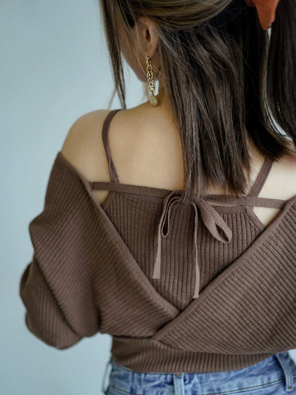 Fall Vibes Knit Top In Brown (In Stock)