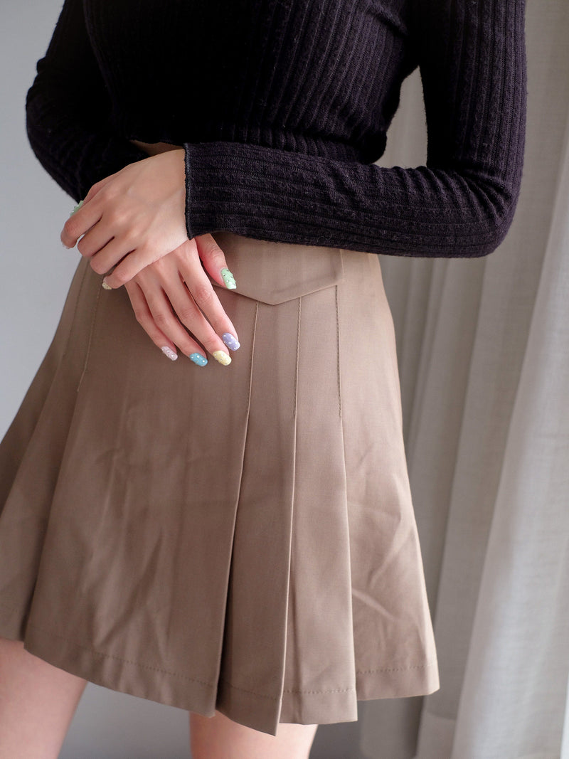 Pleated Mini Skirt In Brown