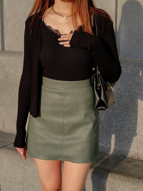 Faux Leather Mini Skirt In Green