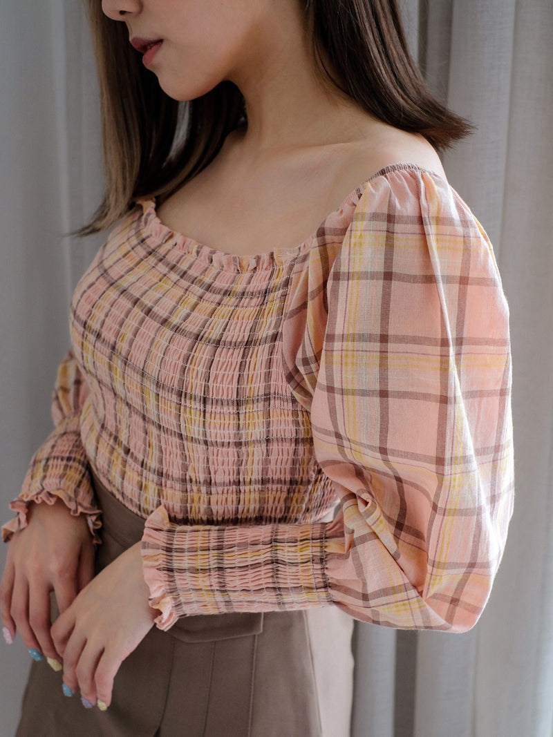 Check Print Puffy Sleeve Top In Pink