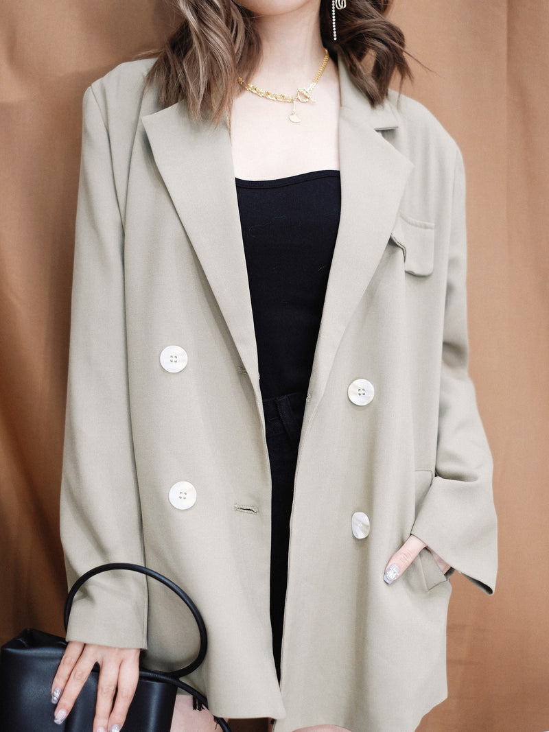 Oversized Blazer with Self-tie Open Back Details