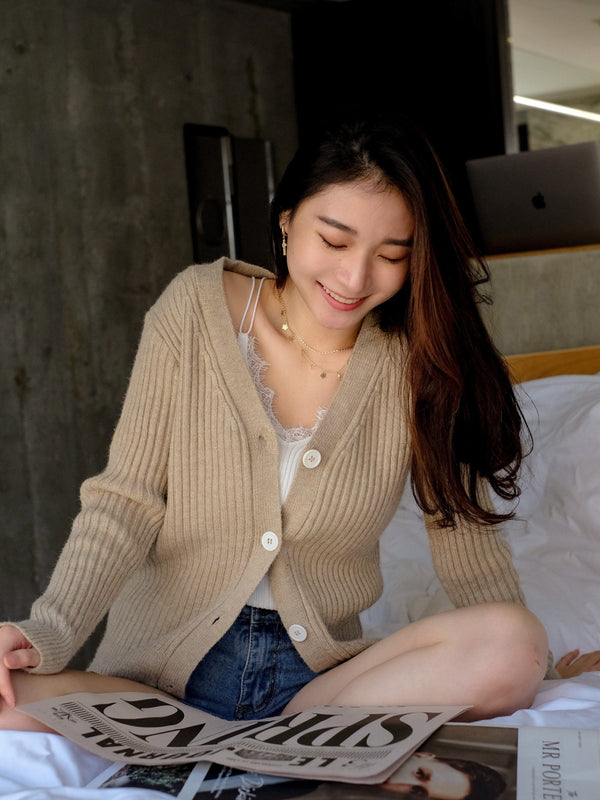 Cable Knit Cardigan In Brown Sugar