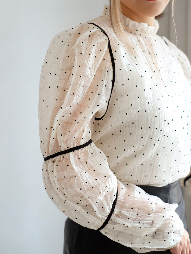See Through Puffy Sleeve Blouse