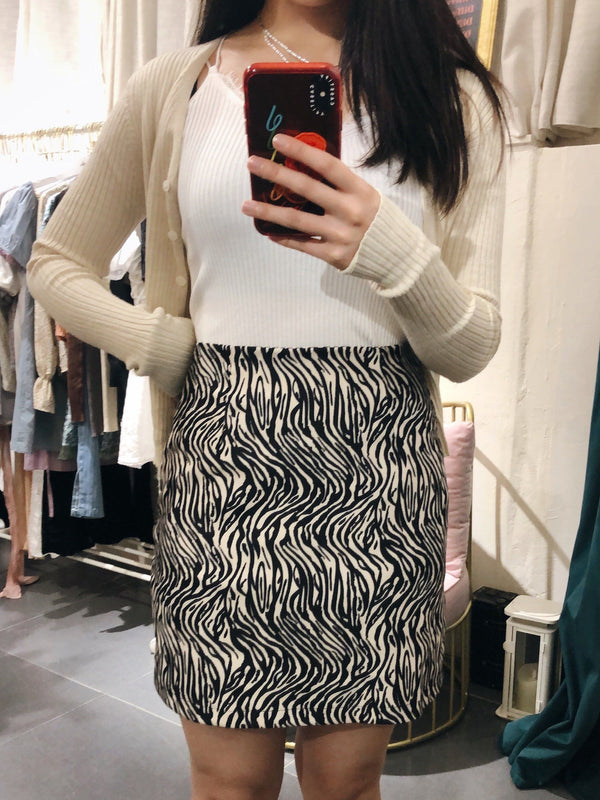 Zebra Patterned Mini Skirt