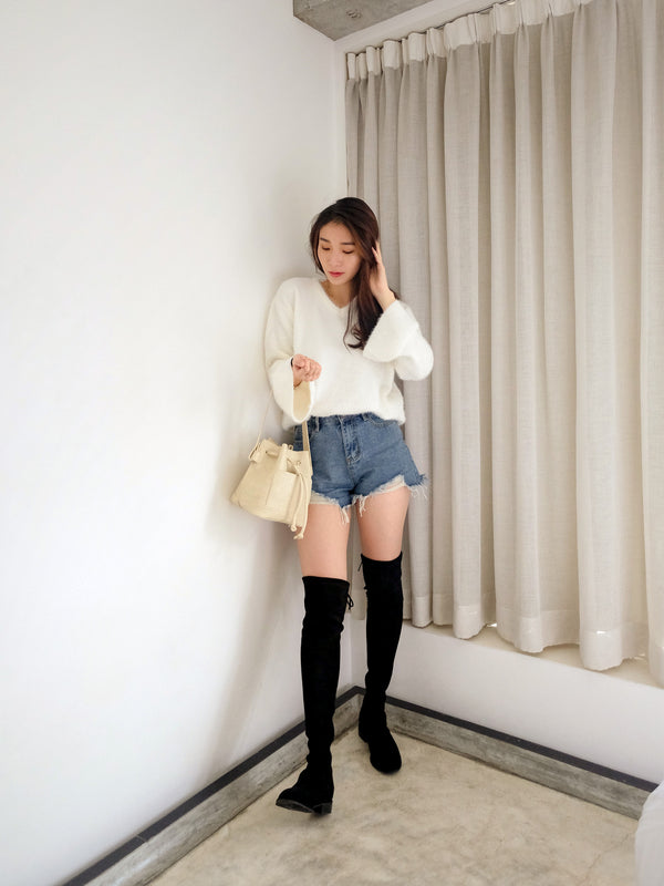 Soft White Ruffle Knitted Top