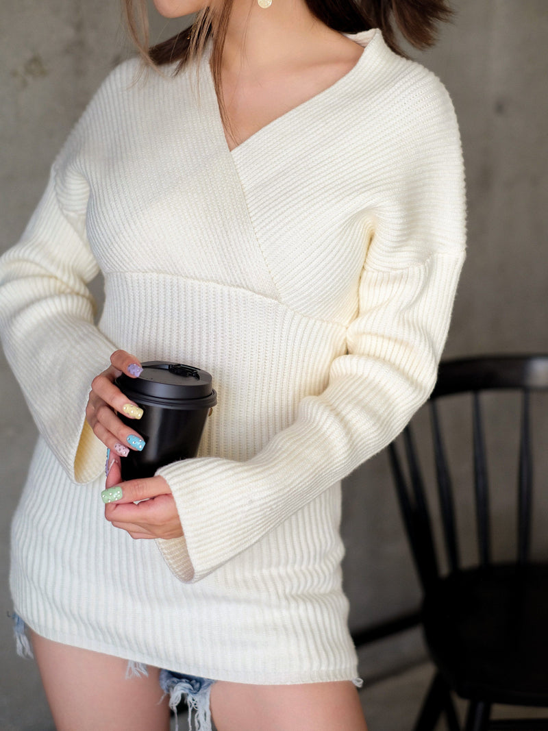 Ribbed Long Knit Top In Ivory