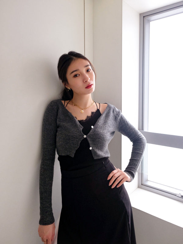 Cropped Knit Cardigan In Grey