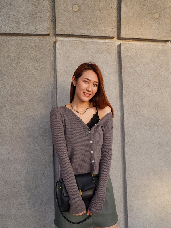 Huggable Cardigan In Sesame Grey