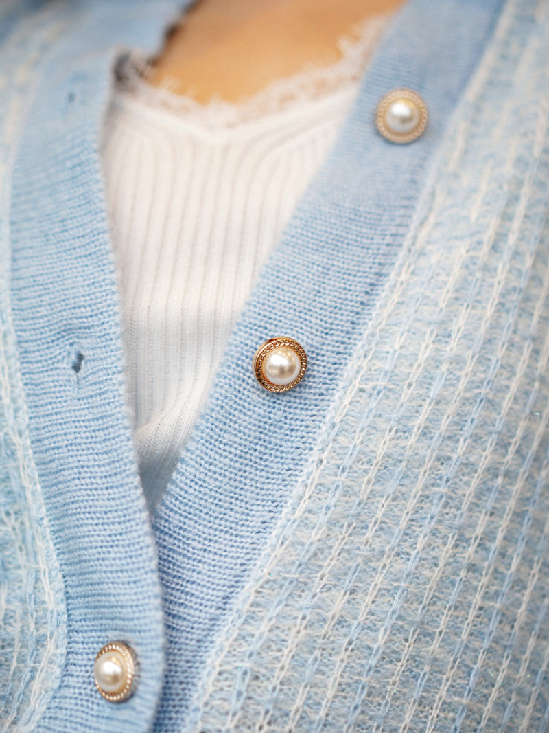 Tweed Baby Blue Cardigan With Golden Button