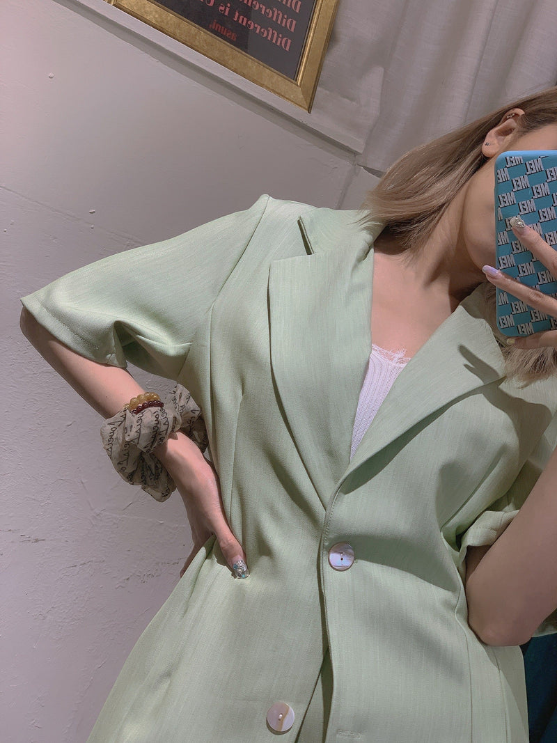 Set Of Blazer & Skirt In Mint