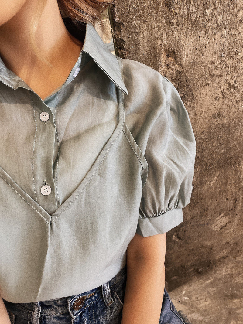 Soft See Through 2 in 1 Blouse In Pistachio