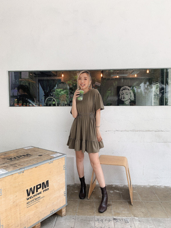 Army Green Ruffle Mini Dress