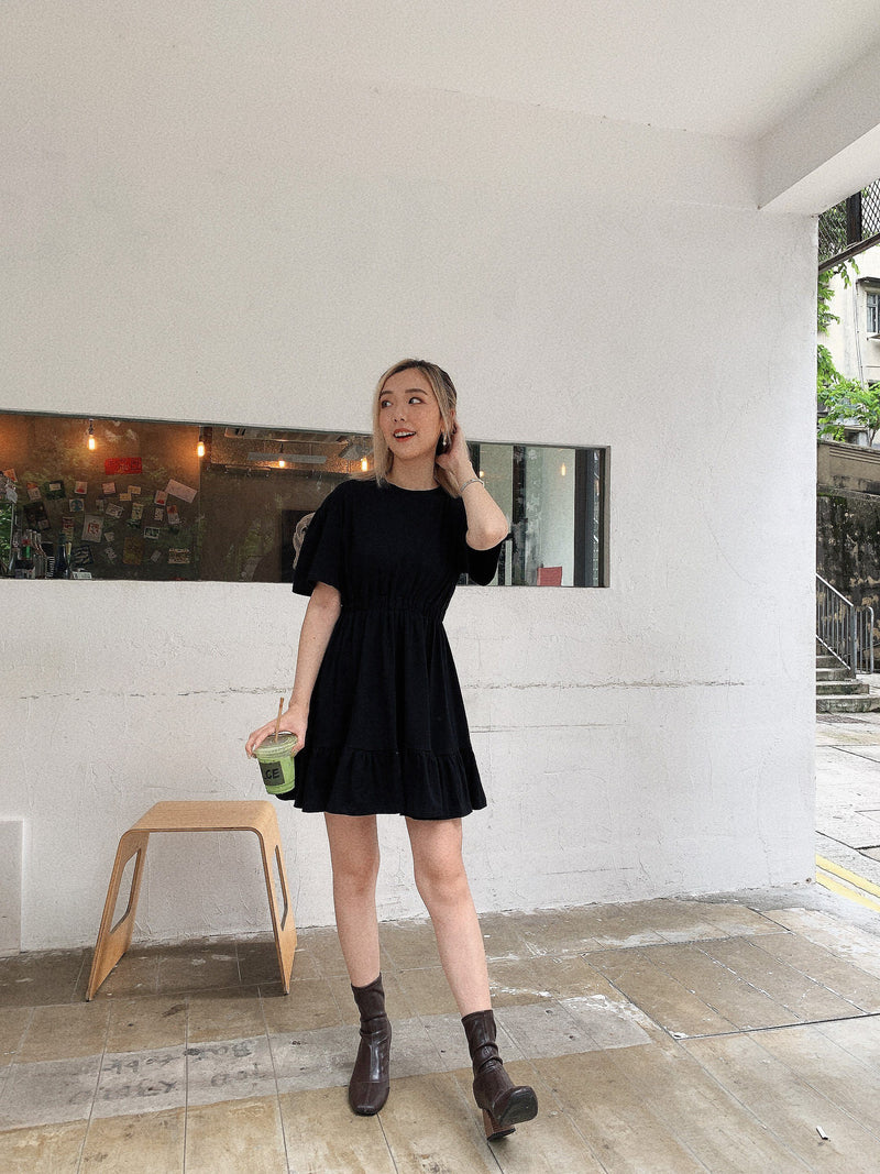 Black Mini Ruffle Dress