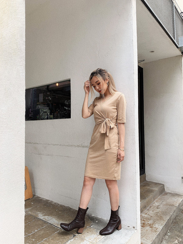 Self-tie V Neck Milk Tea Midi Dress