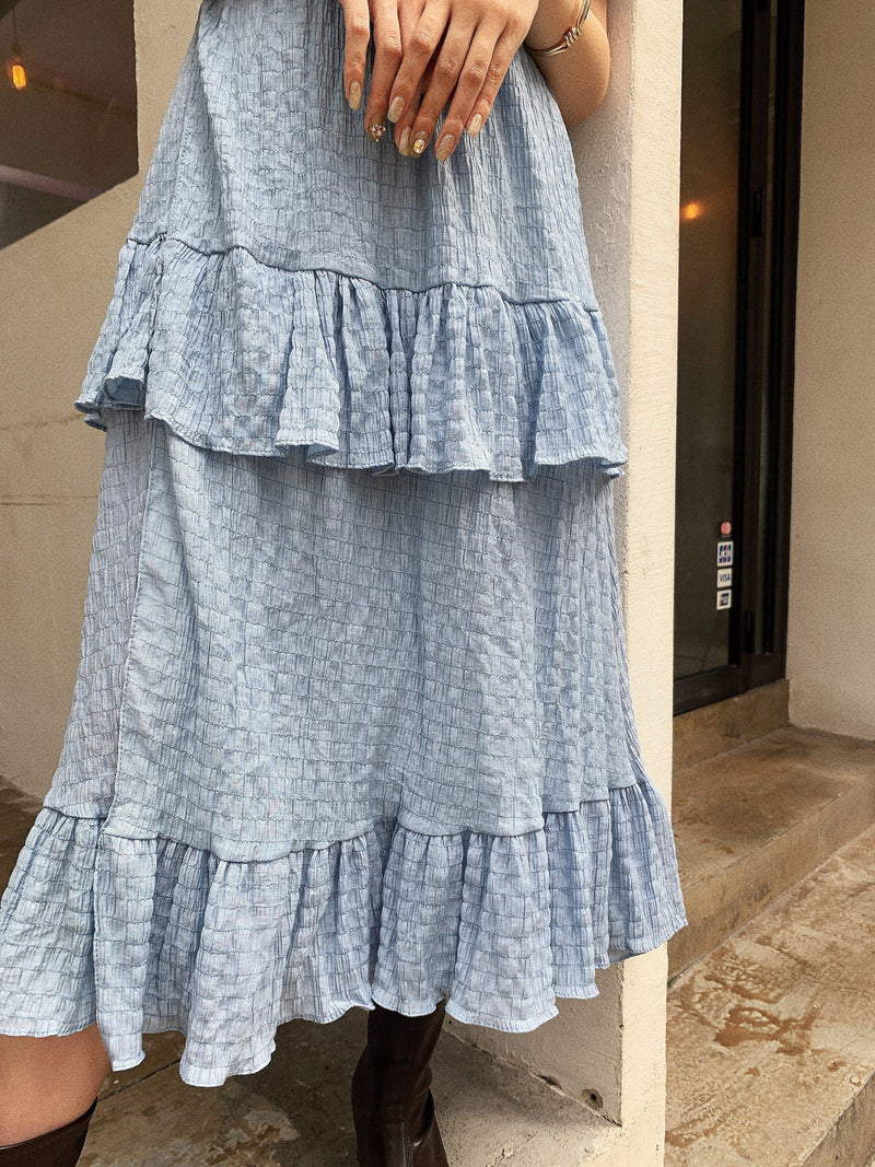 Self-Tie Ruffle layered Maxi Dress In Blue