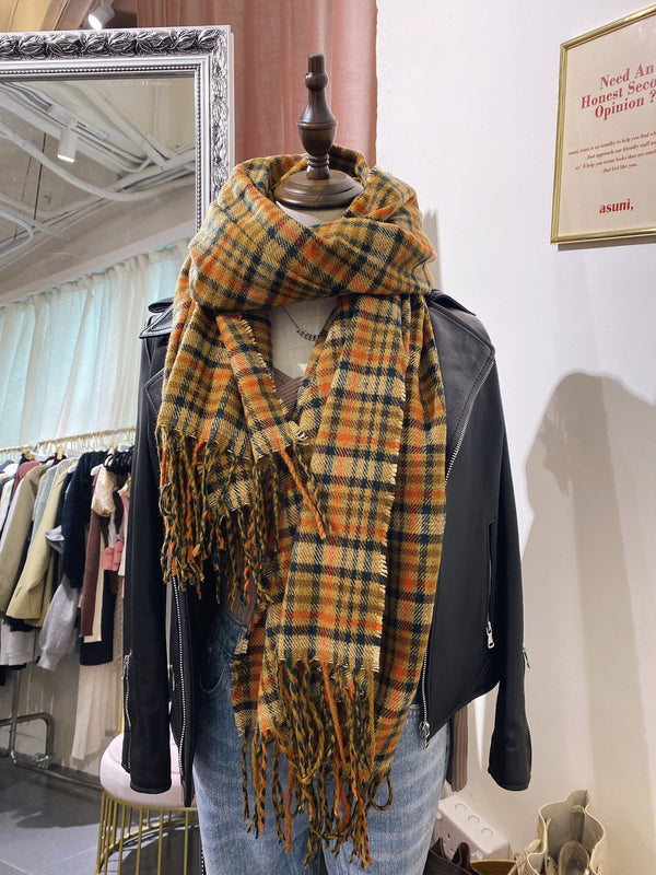 Mustard x Dark Green Hem Scarf (In Stock)