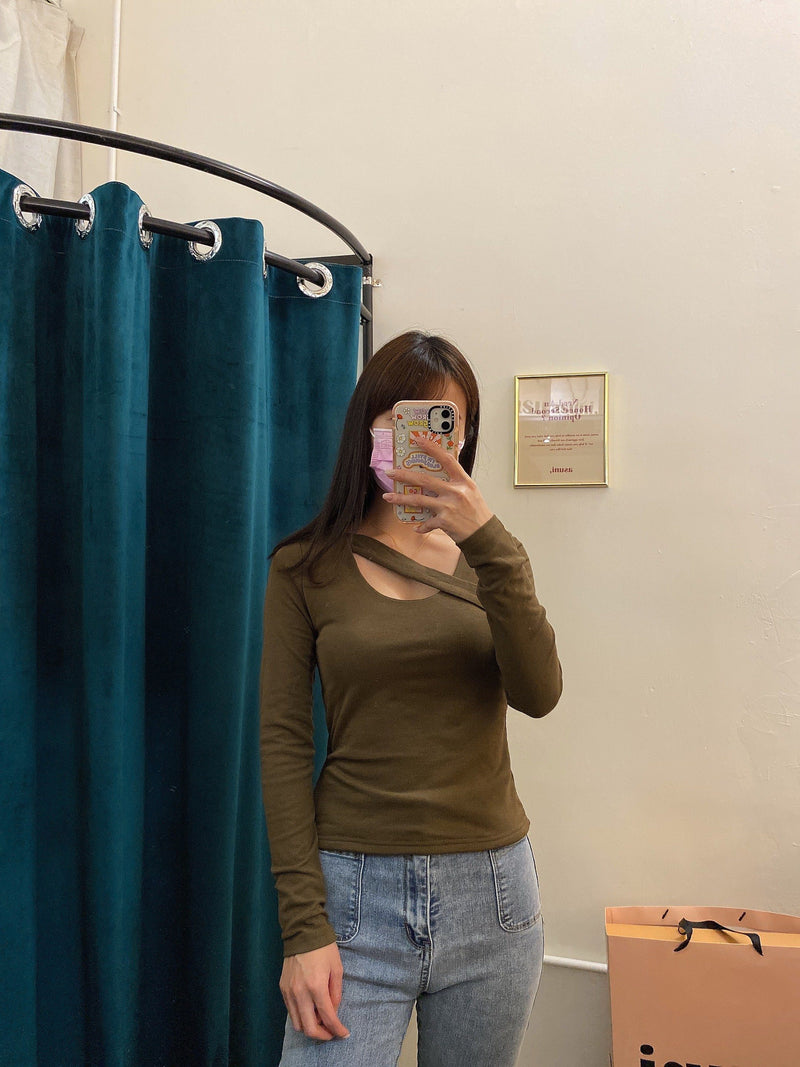Cross Neck Thermal Top In Olive