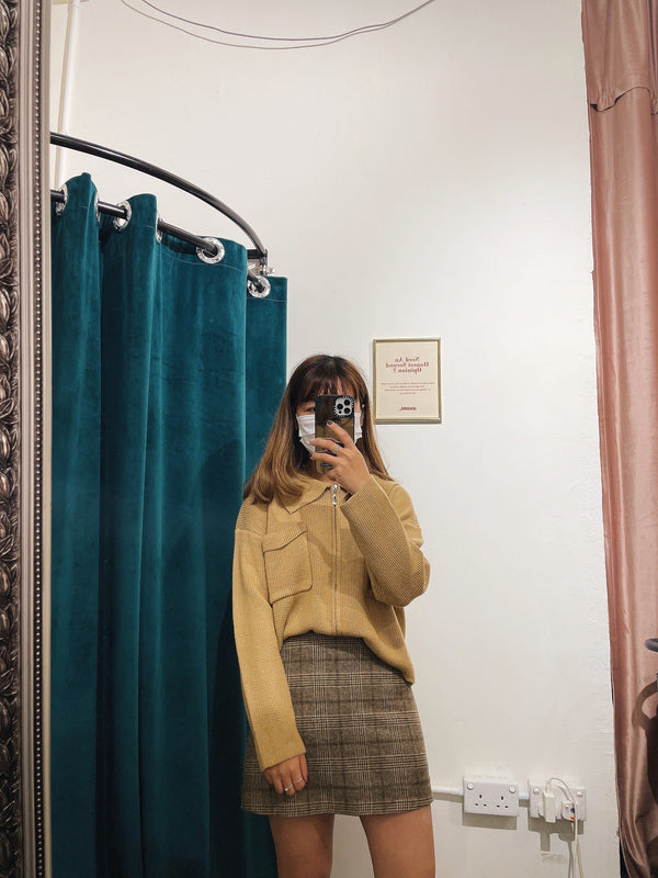 Zip Front Double Pocket Knit Top In Mustard (Pre-order)