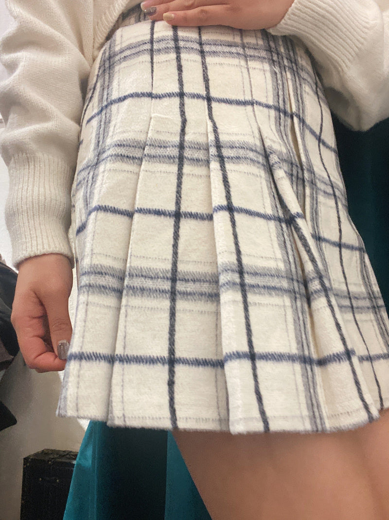 Pleated Check Print Mini Skirt In WxB