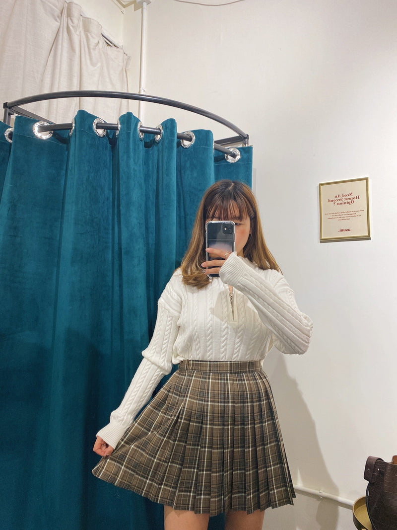 Pleated Mini Skirt In Blue Check