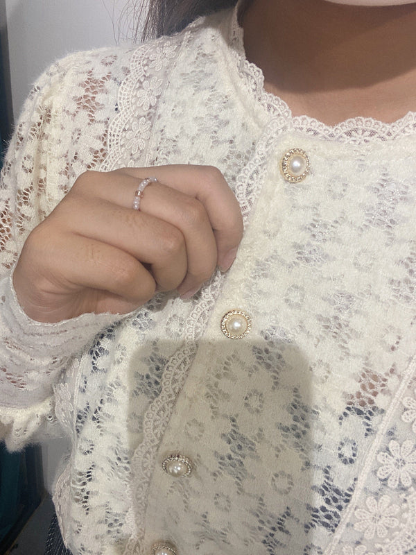 White Lace Button-up Blouse