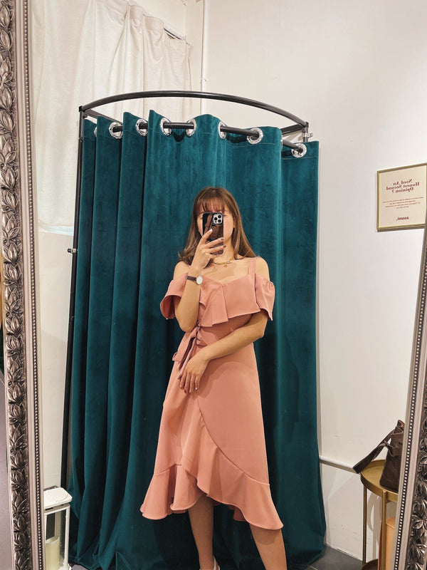 Self-tie Ruffle Midi Dress In Dusty Pink