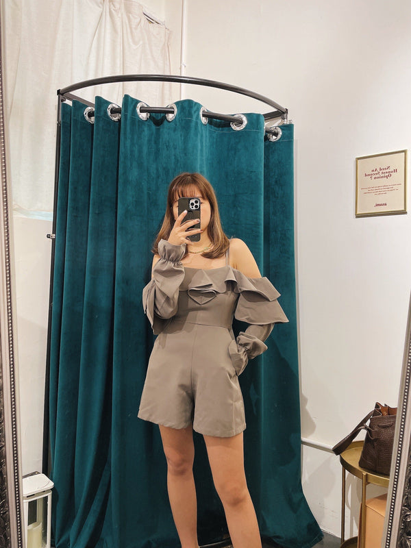 Long Sleeve Off-shoulder Romper In Dark Grey